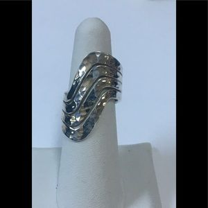 Four Row Sterling Silver Wave Ring